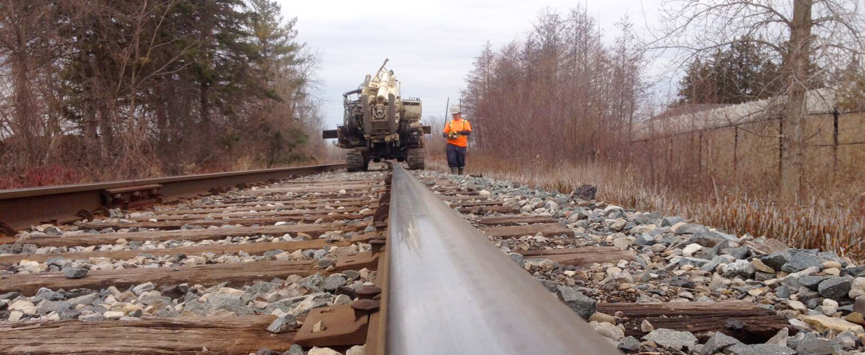 Drill rig on train tracks